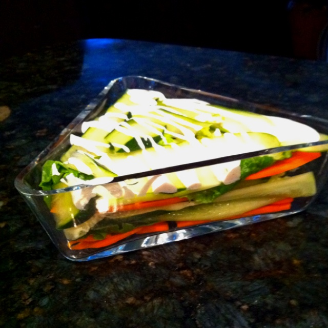 ... leafs & thin sliced cucumber. Drizzled ranch dressing over the top