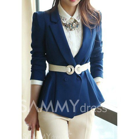 Tailored Collar Long Sleeves Casual Style Solid Color Polyester Blazer