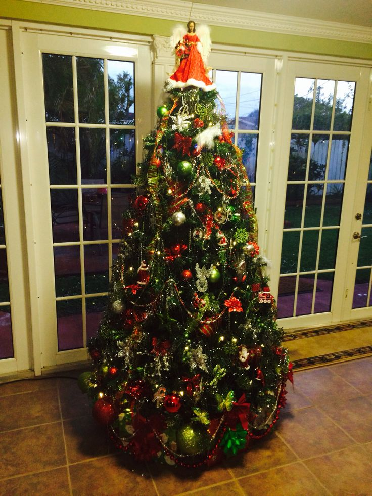 green red and silver christmas tree christmas trees