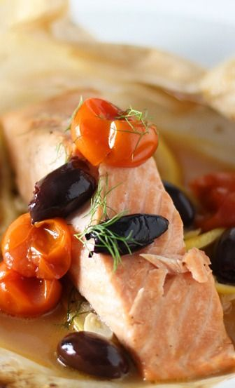 Salmon en Papillote with Cherry Tomatoes, fennel and Kalamata Olives