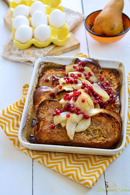 Baked Eggnog French Toast with Sauteed Pears and Pomegranates via ...