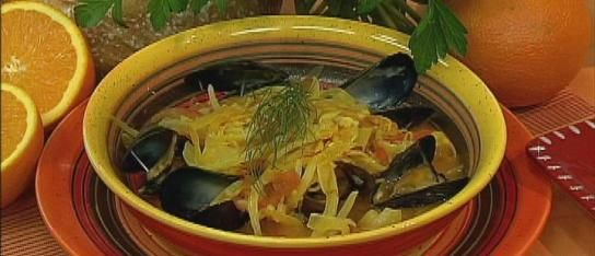 Halibut Braised with Saffron, Fennel, Tomatoes and Mussels Recipe from ...