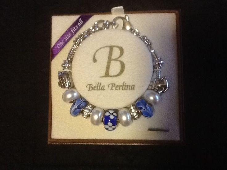 Bella Perlina Charm Bracelet Silver//Blue Anchor/Ship NIB