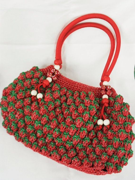 Strawberry Crochet Bag Handcrochet Strawberry Bag by MorinaGirl, $69 ...
