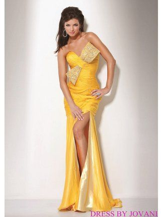 Yellow Jovani Prom Dresses 6