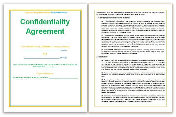 Confidentiality statement for business plan