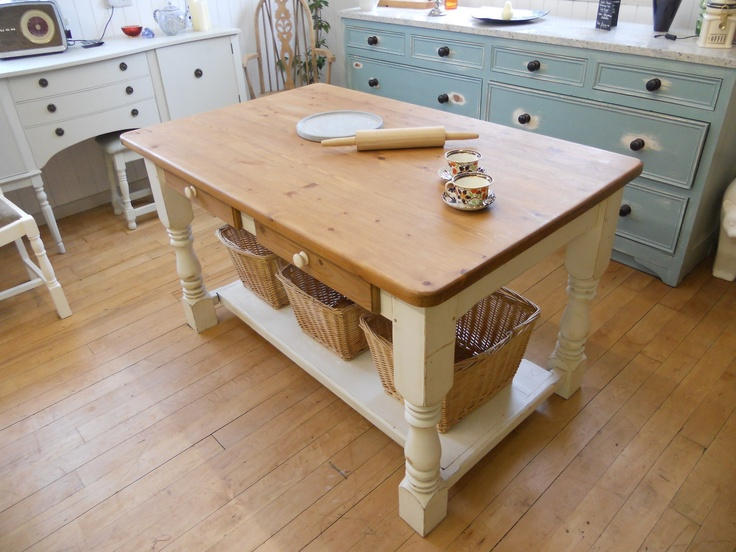 Shabby chic painted farmhouse country kitchen island for Kitchen ideas w2 5sh