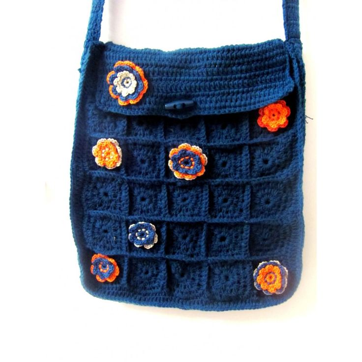 Sling Bag Crochet Pattern : Marine Blue Crochet Sling Bag a a Pinterest