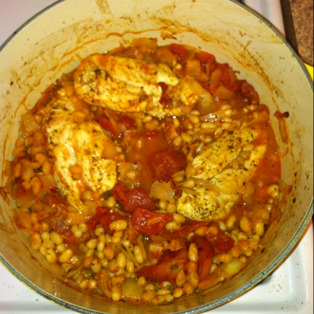 Baked chicken with onions, stewed tomatoes, navy beans, and bacon!