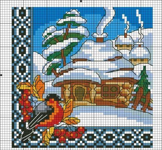 Схема для вышивки крестом украинская хата