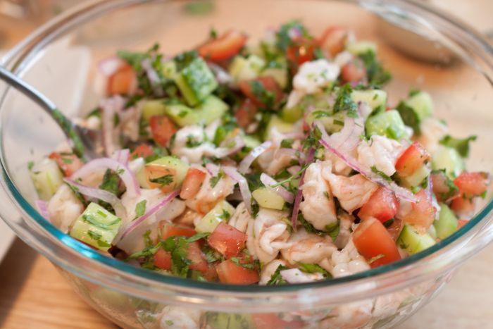 Shrimp ceviche - add corn & garlic