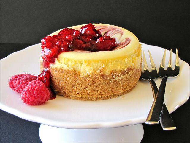 Mini White Chocolate Raspberry Cheesecakes
