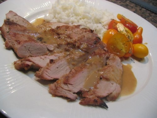 ... marinade pork tenderloin with tequila hot pepper glaze grilled peaches