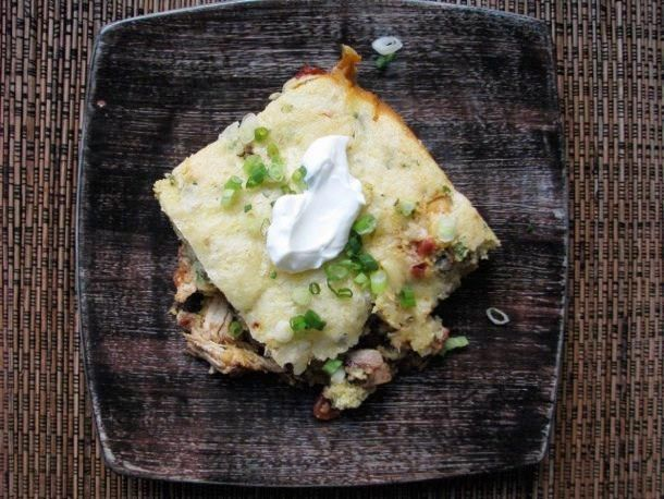 turkey-tamale-pie with leftover turkey, black beans, rotel tomatoes ...