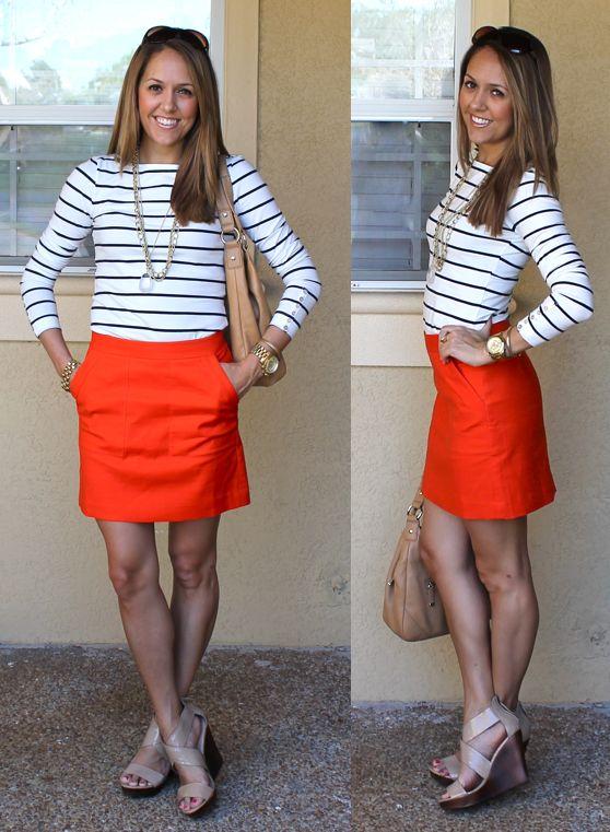 Orange skirt, nautical stripe.
