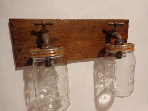 Mason Jar Vanity Light Fixture : Handmade Rustic Mason Jar Vanity 2 light fixture, Country, Primitive
