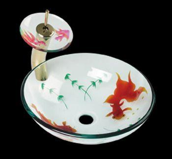 Vessel Sinks Multi Glass, Koi Fish Painted Vessel Faucet Tall Brass ...