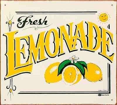 Lemonade stand hand painted sign ideas citron bien for Cool lemonade stand ideas