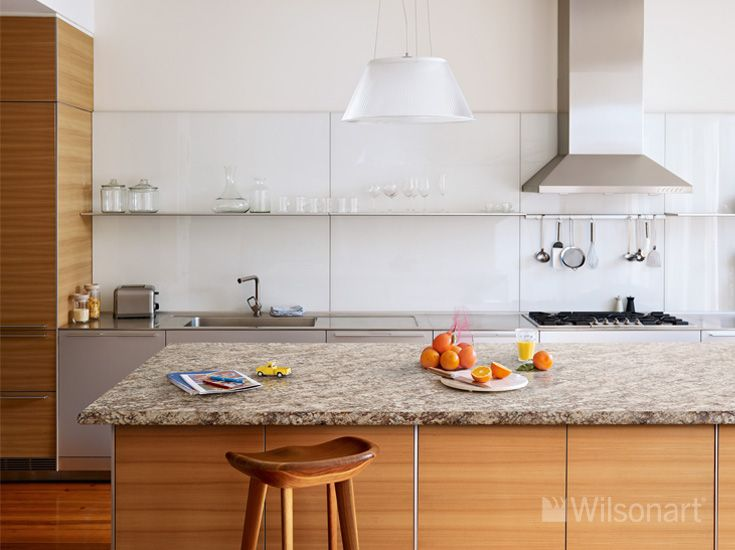 These beautiful Golden Romano Wilsonart® HD® High Definition® Laminate countertops feature a Wilsonart® Crescent Decorative Edge, adding a final elegant touch to this beautiful kitchen.