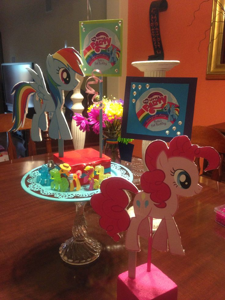 Rainbow dash and pinkie pie decorations for bella 39 s 5th for 5th birthday decoration ideas