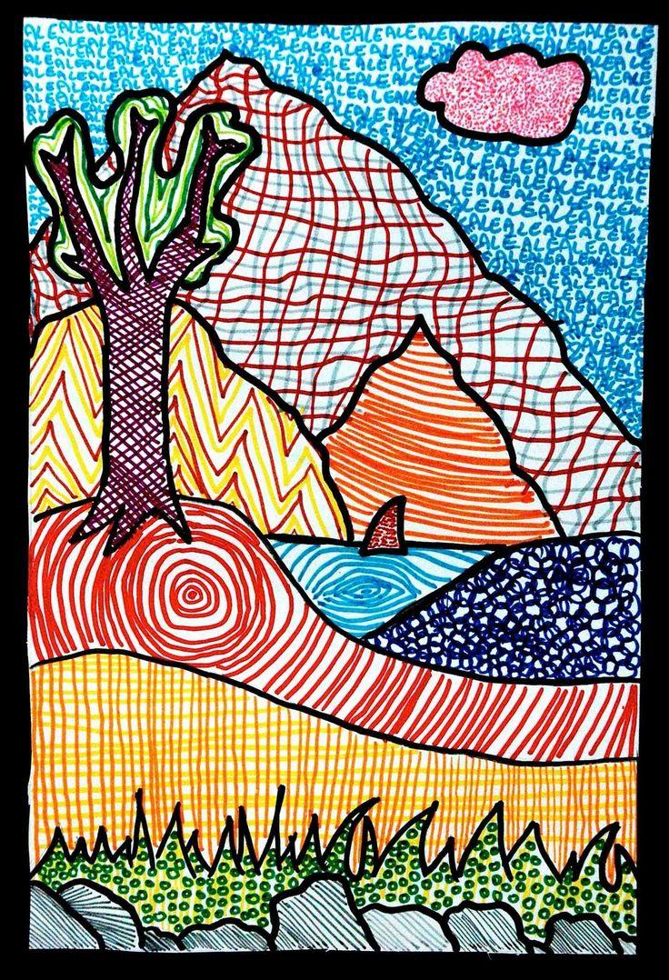 Line And Texture In Art : Textured landscapes landscape art lesson ideas pinterest