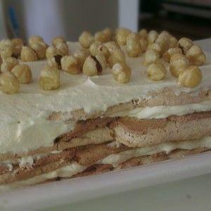 Hazelnut Dacquoise with Chocolate Ganache & Frangelico Cream