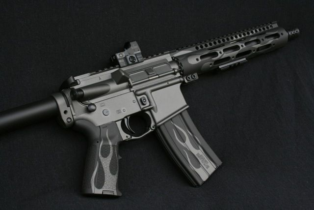 Ar pistol in cerakote tungsten grey and graphite black copyright