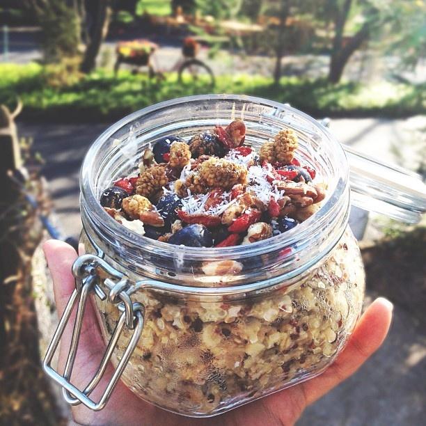 Quinoa oat porridge. I've never had quinoa porridge before. Nor have I ...