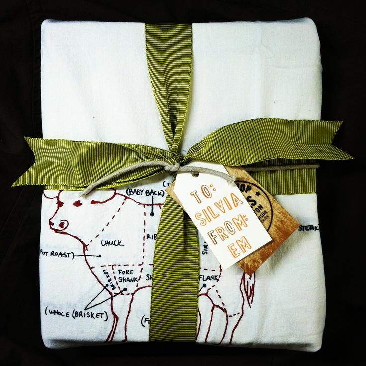 Wedding Gift Tea Towels : Bridal Shower Giftcookbook wrapped in tea towels #wedding # ...