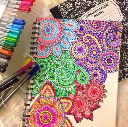 Sharpies on notebook creative design | painting. | Pinterest