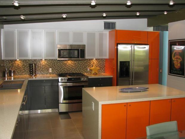 Modern Island Style Green kitchen, orange cabinets, $50,000  $100,000