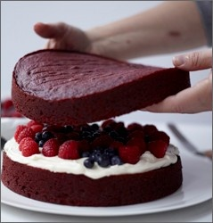 Red velvet cake with raspberries and blueberries from Bon Appétit ...