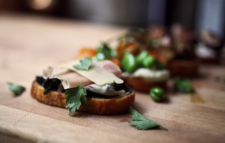 ... and Cheese Crostini: Sauteed Swiss Chard with Prosciutto and Gruyere