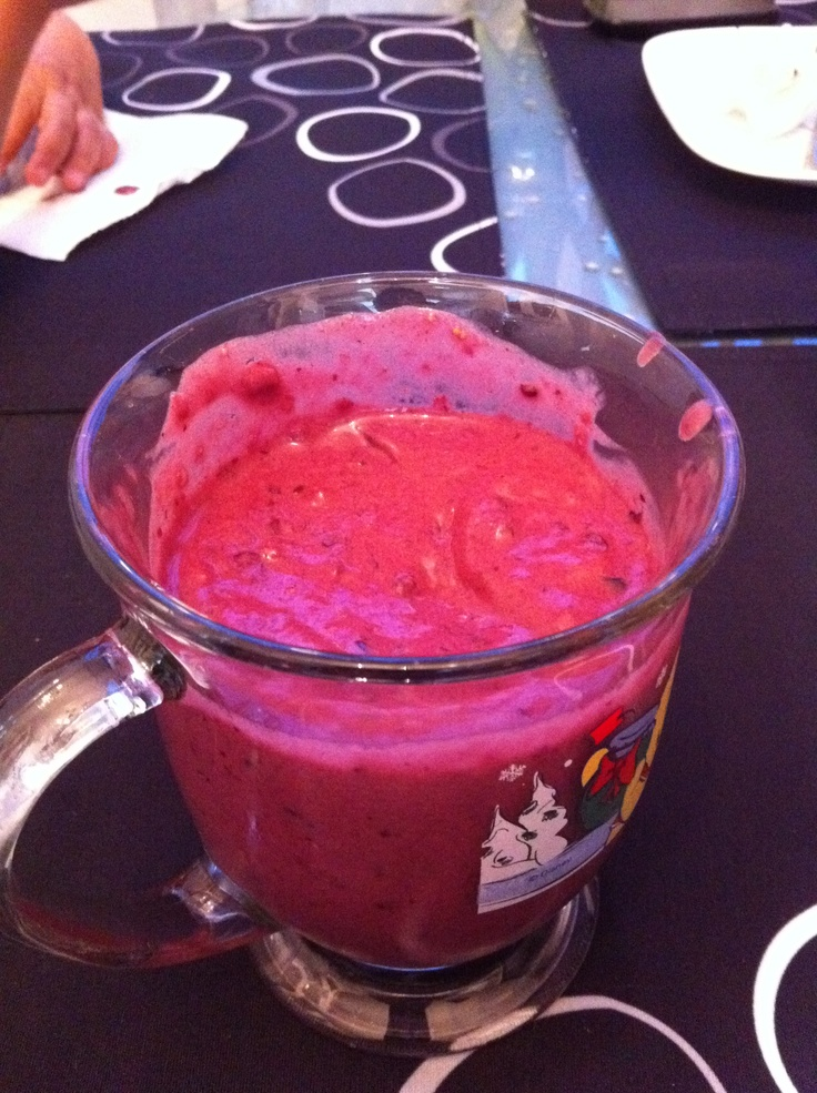 Banana, mixed berry, yogurt, peanut butter smoothie!!! All natural ...