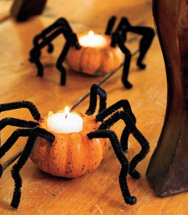 Spider pumpkin candles holidays halloween pinterest for Decoracion para halloween