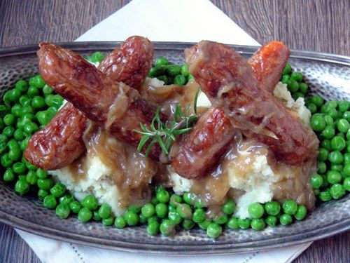 Bangers and mash with onion gravy | Food! | Pinterest