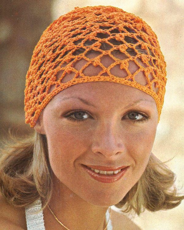 1970s Crochet Hair Net 70s! Orange and Brown Pinterest