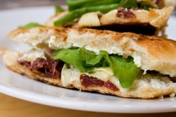 Spinach, Mozzarella and Roasted Red Pepper Panini Sandwi