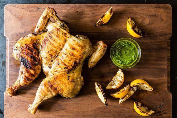 Grilled chicken under a brick with Thyme pesto. Yummmm. Chicken al ...