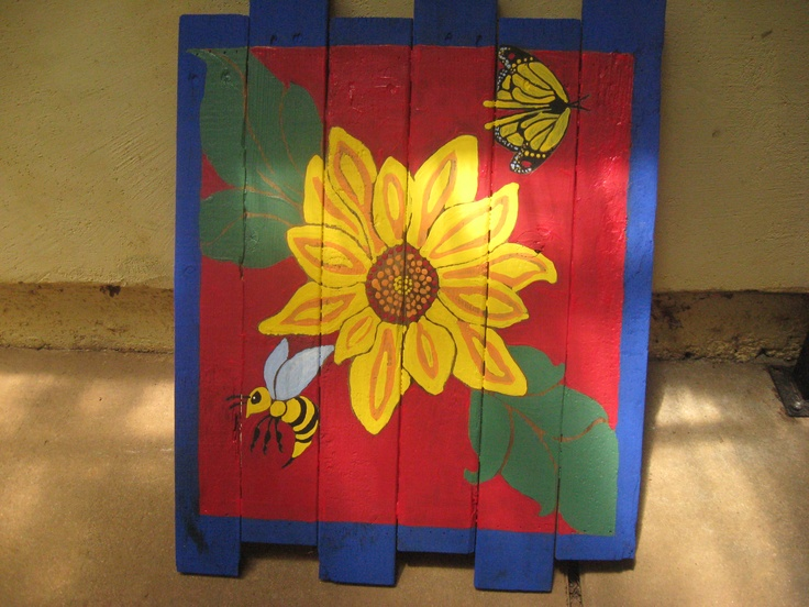 Fence painting ideas sunflower yard art red neck for Fence painting ideas