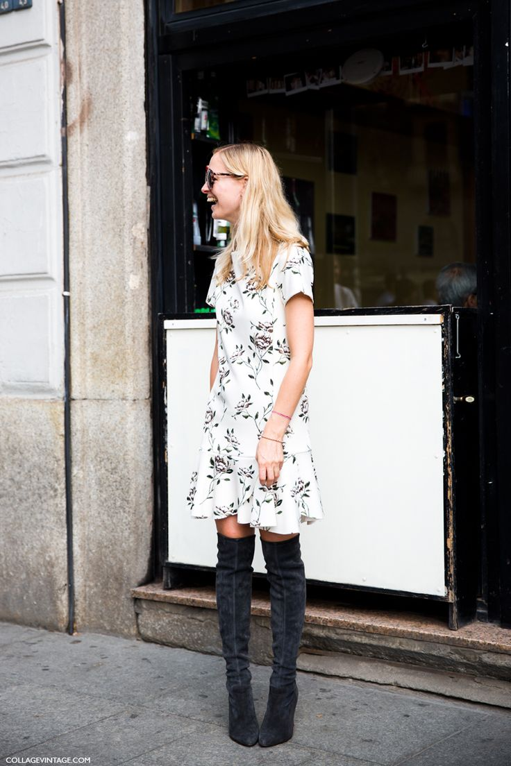 printed dress knee high boots my style