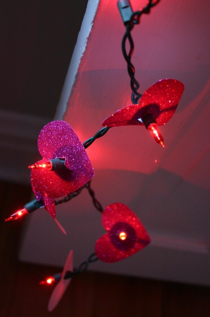 These glittery heart lights are really stunning and easy to make. Get the mini light length that works for you: http://www.partylights.com/Strings-Bulbs/Mini-Lights