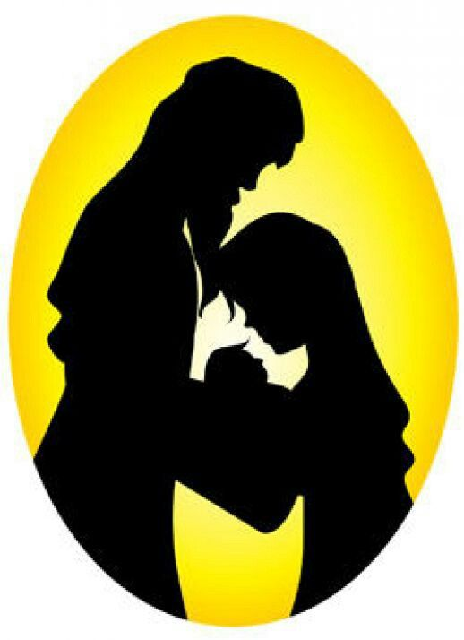 Nativity Silhouette Joseph, Mary and Baby Jesus for Papercraft/Window ...