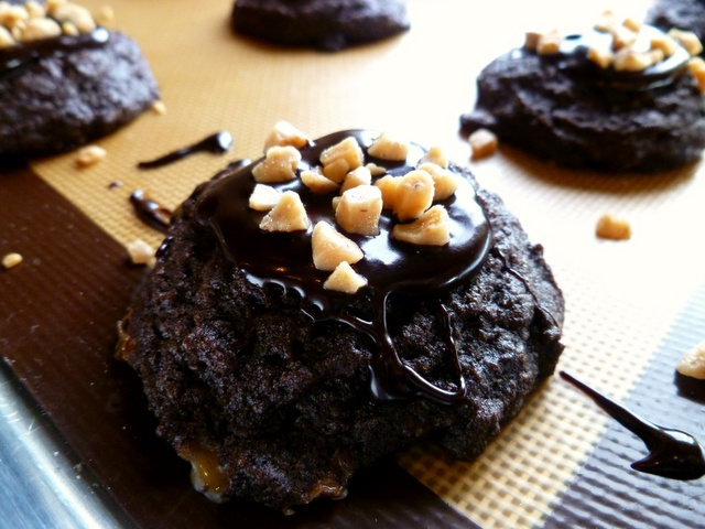 Dark chocolate toffee cookies. Super chocolatey and chewy! Yum.