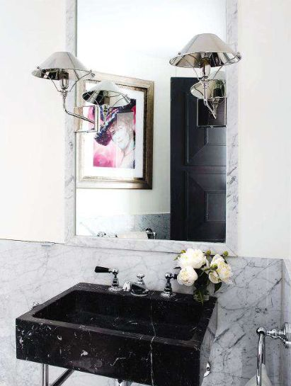 black marble wall mounted sink.