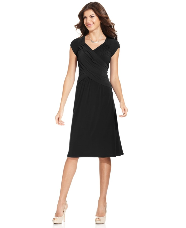 NY Collection B Slim Cap Sleeve Body Shaper Dress