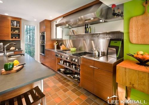 Orange And Lime Green Kitchen : Kitchen - great scale and handling of the cooktop.