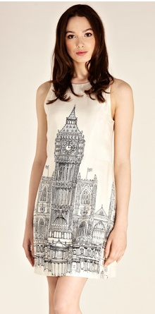 Big Ben is - quite serendipitously -  having a huge fashion moment. Big Ben Placement Dress by Oasis