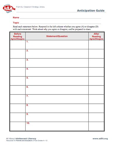 Anticipation Guide - The Teacher Toolkit