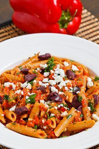 Roasted Red Pepper Pesto Pasta with Feta and Kalamata Olives | Recipe